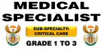 Medical Specialist Grade 1 to 3 (Sub-specialty: Critical Care)