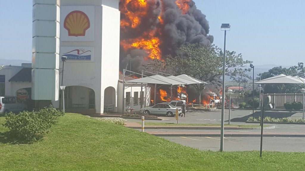 shell garage on fire